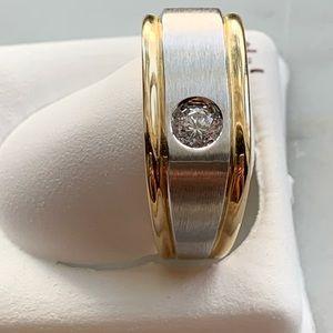 NEW 14KTT Mens Heavy Duty Diamond Ring